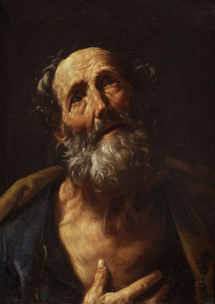 Reni, Guido:  Saint Peter Penitent. Fine Art Print/Poster. Sizes: A4/A3/A2/A1 (002097)